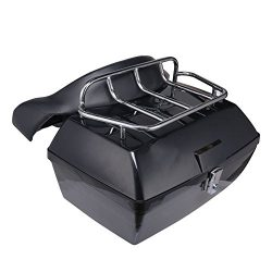 ACUMSTE Black Motorcycle Trunk, Tour Pack Luggage Case Tail Box with Top Rack Backrest for Harle ...