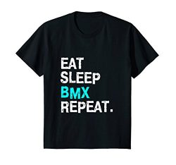 Kids Eat Sleep BMX Repeat T-Shirt Bike Racing for Women Men Race 12 Black