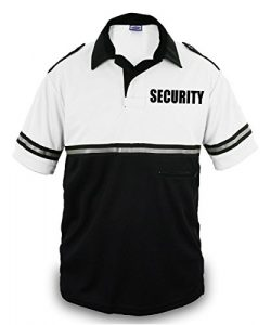 First Class Two Tone Security Bike Patrol Shirt With Reflective Stripes and Zipper Pocket (White ...
