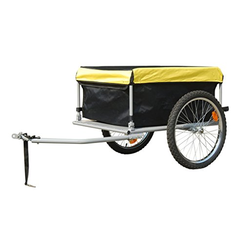 Daonanba Bike On-wheel Trailer with Cover 4.9 Cubic Feet Useful Cargo Transport Carrier