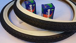 Pair of Two (2) Diamond White Wall 26×2.125 Bicycle Tires with Two (2) Duro Bicycle Inner T ...