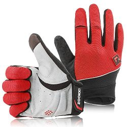 ZOOKKI Work Gloves,Full finger-Red,L(7.9inches-9.0inches)