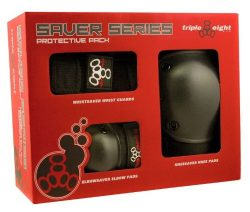 Triple 8 Saver Series Wristsavers/Kneesavers/Elbowsavers (Black, Medium, 3 Pack)