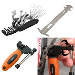 Luditek Orange Bicycle Chain Splitter Cutter Breaker and 16 in 1 Bike Repair Tool, Chain Wear In ...