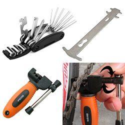 Luditek Orange Bicycle Chain Splitter Cutter Breaker and 16 in 1 Bike Repair Tool, Chain Wear In ...