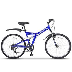 Murtisol 26″ Folding Mountain Bike Shimano Hybrid Bike Suspension 7 Speed Bike (Blue & ...
