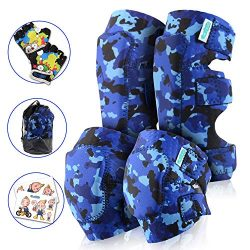 Innovative Soft Kids Knee and Elbow Pads Plus Bike Gloves | Toddler Protective Gear Set w/Sticke ...