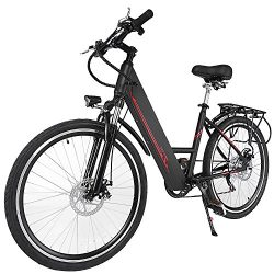 Oanon Folding Electric Bicycle 6-Speed E-Bike with Handlebar Display & 26 Inch Wheel (Black)