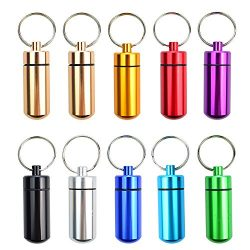 10 Pcs Portable Pill Case, Bantoye Waterproof Aluminum Pill Holders Storage Drug Container with  ...