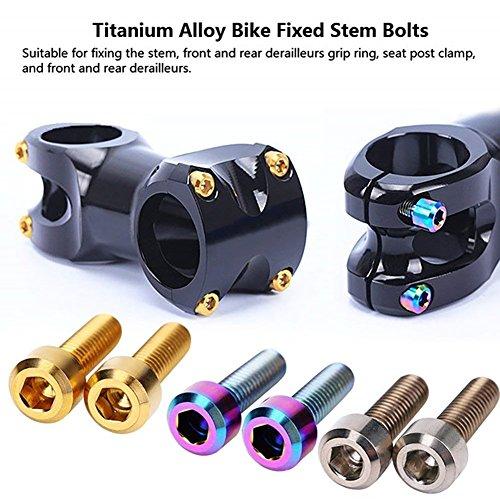 HMME Titanium Stem Bolts M5x16mm Allen Hex Tapered Bolts Screw Bicycle Pack of 6 GOLD MULIT-COLO ...