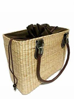 Natural Basket Bike Water hyacinth Removable Handle Bags 3-Strap Bicycle Basket