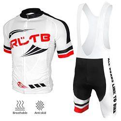 Arltb Cycling Jersey and Bib Shorts Set Bicycle Bike Short Sleeve Jersey,White,XX-Large