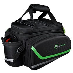 RockBros Bike Bag Rear Carrier Bag Rear Pack Trunk Pannier (Black Green)
