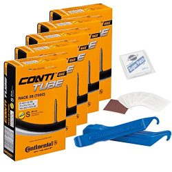 Continental Bicycle Tubes Race 28 700×20-25 S60 Presta Valve 60mm Bike Tube Super Bundle (P ...