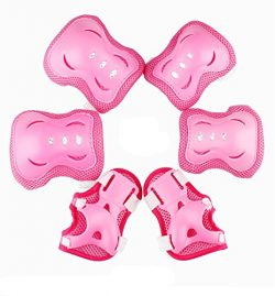 Satisfounder Elbow Knee Wrist Bicycle Pads Set Blades Guard for Girls Kids Skating Biking Cyclin ...