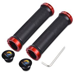 TOPCABIN Bicycle Grips,Double Lock on Locking Bicycle Handlebar Grips Rubber Comfortable Bike Gr ...