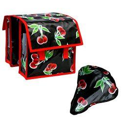 IKURI SET Bike Bag for Kids + Saddle Cover Small Size Waterproof Handmade Folding Bike Panniers  ...