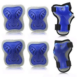 Kipten 6pcs Set Kid Roller Skating Skateboard Elbow Knee Pads Wrist Protective Adjustable Guard  ...