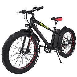 NAKTO 26″ 300W Fat Tire Electric Bicycle Shimano 6-Speed-Gear Mountain Ebike with Removabl ...