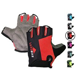 LuxoBike Cycling Gloves Bicycle Gloves Bicycling Gloves Red Mountain Bike Gloves – Anti Slip Sho ...