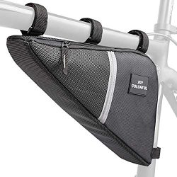 JOY COLORFUL Bicycle Triangle Frame Bag, Waterproof Double Zip Bike Handlebar Bags, Pouch Under  ...