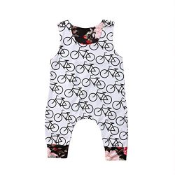 Infant Baby Girl Bicycle Print Floral Romper Sleeveless Jumpsuit Summer Playsuit (White, 0-6 Months)