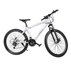 Belovedkai Mountain Bike 26″ Carbon Steel Frame 21 Speed Wheel Mountain Bike 26 Inch Racin ...
