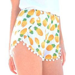 Clearance Sale!FarJing Women's Small Balls Tassel Edge Floral Print Beach Shorts(M,Yellow )