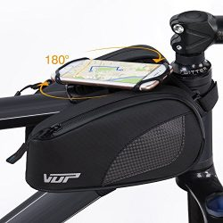 VUP Bike Bag Top Tube, Bicycle Front Tube Frame Bags w/Open-face 180°Rotatable Silicone Strap Ph ...
