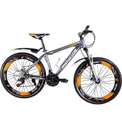 OMAAI Mountain Bike Speedometer, 27 Speed Bicycle Alloy Wheels Full Suspension (Orange)