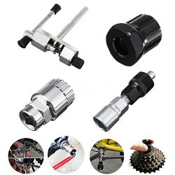 4Pc Mountain Bike MTB Bicycle Crank Chain Axis Extractor Removal Repair Tool Kit (AS, Silver)