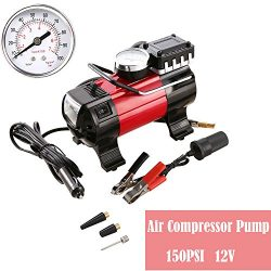 Portable Air Compressor Pump, 100 PSI 12V 168W Electric Auto Digital Car Tire Inflator Gauge for ...
