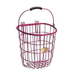 Nantucket Bike Basket Co. Surfside Rear Wire Pannier Bag with Hooks, Pink