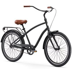 sixthreezero EVRYjourney Men's Single-Speed Hybrid Cruiser Bicycle, Matte Black w/Brown Se ...