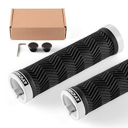 LYCAON Bike Handlebar Grips, Two Sides Locking Non-Slip-Rubber Bicycle Handle Grip with Aluminum ...