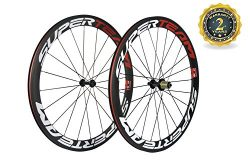 Superteam 50mm Clincher Wheelset 700c 23mm Width Cycling Racing Road Carbon Wheel Decal (Red and ...