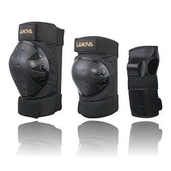 Lanova Child/Youth/Adult Protective Gear Set (Knee Pads and Elbow Pads with Wrist Guards) for Mu ...