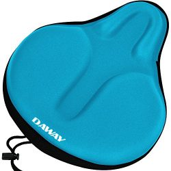 DAWAY Extra Soft Bike Seat Cushion C6 Large Exercise Bicycle Saddle Cover, Thick Widen Foam &amp ...