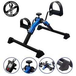 EF Deluxe FOLDING Pedal Exerciser with Electronic Display for Legs and Arms Workout