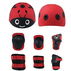 Lucky-M Kids 7 Pieces Outdoor Sports Protective Gear Set Boys Girls Cycling Helmet Safety Pads S ...