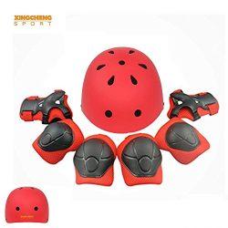 XINGCHENGSPORT Kids Multi-Sport Helmet With Knee&Elbow Pads and Wrists 7 Pieces Kids Boys an ...