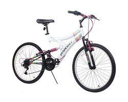 Dynacraft Women's 24″ 21 Speed Rip Curl Bike, 17″/One Size, White/Black/Pink