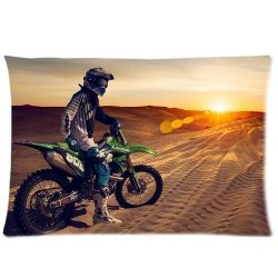Custom Kawasaki Dirt Bike Pillowcase 20×26 two sides Zippered Rectangle PillowCases Throw P ...