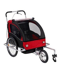 Livebest 2 in 1 Pet Dog Bike Trailer 3-Wheels Bicycle Carrier-Safety Belts & Suspension-Brea ...