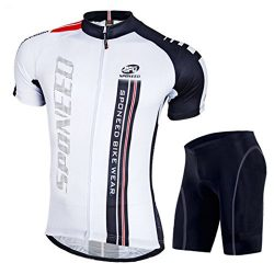 sponeed Biking Jersey and Shorts Set for Men Bicycle Clothing Short Sleeve with Padding Asia XL/ ...