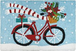 Jellybean Holiday Poinsettia and Presents delivery Bike with Scarf Winter Holiday Accent Rug