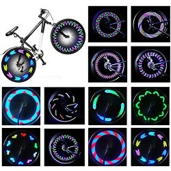 Rottay Bike Wheel Lights, Bicycle Wheel Lights Waterproof RGB Ultra Bright Spoke Lights 14-LED 3 ...