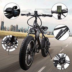 NAKTO 20″ 350W Electric Bicycle Mountain Fat Tire Ebike SHIMANO 6 Speed Gear Electric Bike ...