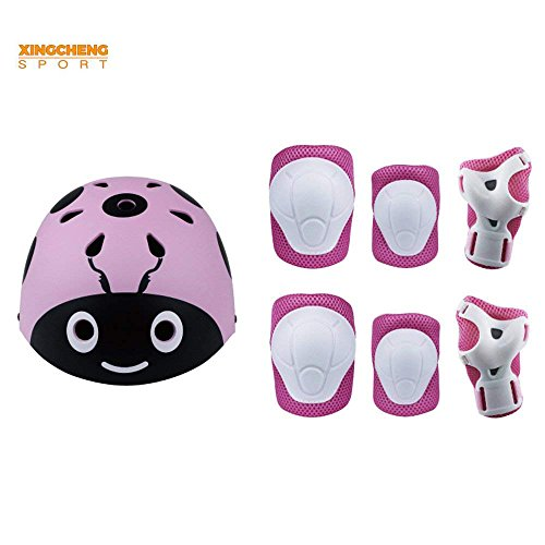Kids Multi-Sport Helmet With Knee&Elbow Pads and Wrists 7 Pieces Kids Boys and Girls Outdoor ...