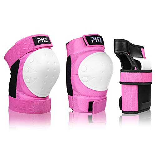 PHZ Kids/Adults 3 in 1 Skateboard Protective Gear Set Knee Pads Elbow Pads Wrist Guards for Roll ...